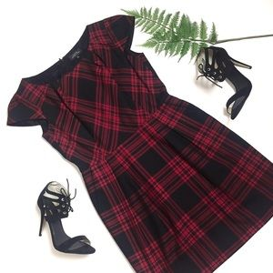 Tahari Red Plaid Tartan Sheath Dress